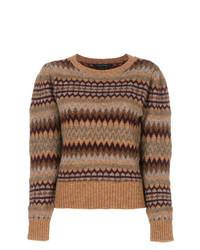 brauner Pullover mit einem Rundhalsausschnitt mit Fair Isle-Muster