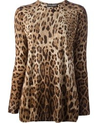 brauner Pullover mit einem Rundhalsausschnitt mit Leopardenmuster von Dolce & Gabbana