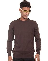 brauner Pullover mit einem Rundhalsausschnitt von FIOCEO