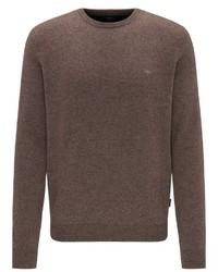 brauner Pullover mit einem Rundhalsausschnitt von Fynch Hatton