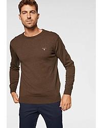 brauner Pullover mit einem Rundhalsausschnitt von Gant