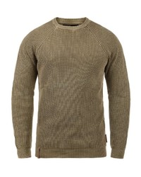 brauner Pullover mit einem Rundhalsausschnitt von INDICODE