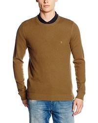 brauner Pullover mit einem Rundhalsausschnitt