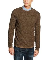 brauner Pullover mit einem Rundhalsausschnitt von Selected Homme