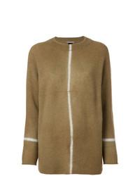brauner Pullover mit einem Rundhalsausschnitt von Suzusan