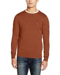brauner Pullover mit einem Rundhalsausschnitt von Tom Tailor