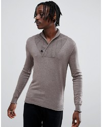 brauner Pullover mit einem Schalkragen von Antony Morato