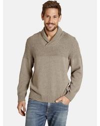 brauner Pullover mit einem Schalkragen von Jan Vanderstorm
