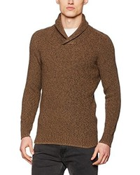 brauner Pullover mit einem Schalkragen von Selected Homme