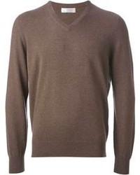 brauner Pullover mit einem V-Ausschnitt