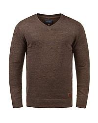 brauner Pullover mit einem V-Ausschnitt von BLEND