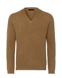 brauner Pullover mit einem V-Ausschnitt von Falke