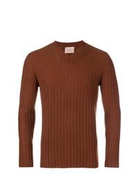 brauner Pullover mit einem V-Ausschnitt von Federico Curradi