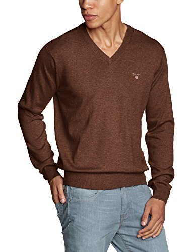 brauner Pullover mit einem V-Ausschnitt von Gant