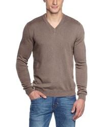 brauner Pullover mit einem V-Ausschnitt von Maerz