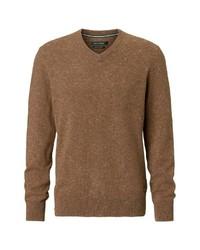 brauner Pullover mit einem V-Ausschnitt von Marc O'Polo