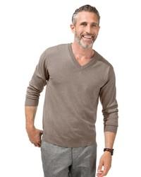 brauner Pullover mit einem V-Ausschnitt von MARCO DONATI