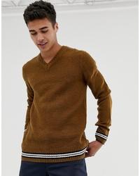 brauner Pullover mit einem V-Ausschnitt von New Look