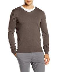 brauner Pullover mit einem V-Ausschnitt von Tom Tailor