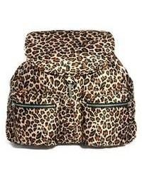 brauner Rucksack mit Leopardenmuster