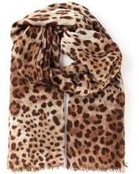 brauner Schal mit Leopardenmuster