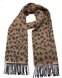 brauner Schal mit Leopardenmuster von Lucien Pellat-Finet