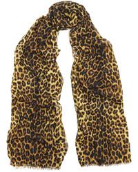 brauner Schal mit Leopardenmuster von Saint Laurent