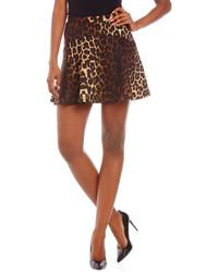 brauner Skaterrock mit Leopardenmuster