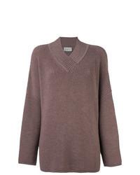brauner Strick Oversize Pullover