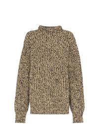 Modische braunen Strick Oversize Pullover für Winter 2019