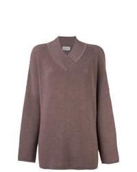 brauner Strick Oversize Pullover von Lanvin