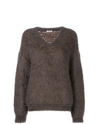 brauner Strick Oversize Pullover von Miu Miu