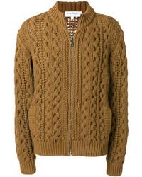 brauner Strick Pullover mit einem Reißverschluß von Salvatore Ferragamo