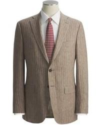 brauner vertikal gestreifter Anzug