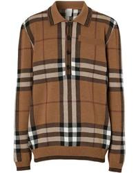 brauner Wollpolo pullover mit Karomuster von Burberry