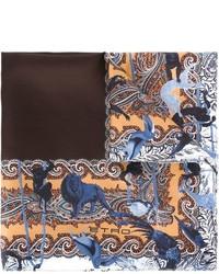 Braunes bedrucktes Einstecktuch von Etro