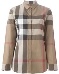 braunes bedrucktes Hemd von Burberry