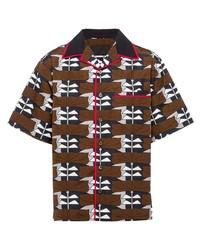 braunes bedrucktes Kurzarmhemd von Prada