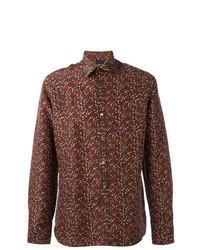 braunes bedrucktes Langarmhemd