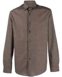 braunes bedrucktes Langarmhemd von Salvatore Ferragamo