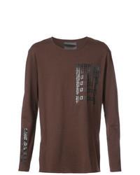 braunes bedrucktes Langarmshirt