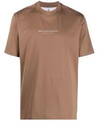 braunes bedrucktes T-Shirt mit einem Rundhalsausschnitt von Brunello Cucinelli