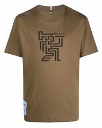 braunes bedrucktes T-Shirt mit einem Rundhalsausschnitt von McQ