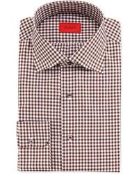 Braunes Businesshemd mit Vichy-Muster