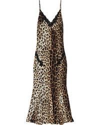braunes Etuikleid mit Leopardenmuster von Moschino Cheap & Chic