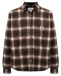 braunes Flanell Langarmhemd mit Schottenmuster von Carhartt WIP