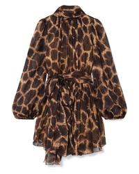 braunes gerade geschnittenes Kleid mit Leopardenmuster von Dolce & Gabbana