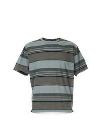 braunes horizontal gestreiftes T-Shirt mit einem Rundhalsausschnitt von Kolor