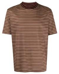 braunes horizontal gestreiftes T-Shirt mit einem Rundhalsausschnitt von Lanvin