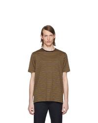braunes horizontal gestreiftes T-Shirt mit einem Rundhalsausschnitt von Marni